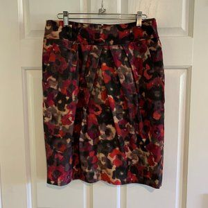 Jones New York Abstract Floral Pleated Skirt